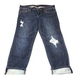 KUT Crop Distressed Jeans